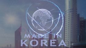 Gjort i Korea text med hologrammet 3d av planetjorden mot bakgrunden av den moderna metropolisen vektor illustrationer