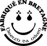 Gjort i mallar för vektor för Brittany `-etiketter med undertecknar in franska och Breton språk Royaltyfri Bild