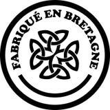 Gjort i mallar för vektor för Brittany `-etiketter med undertecknar in franska och Breton språk Arkivbilder