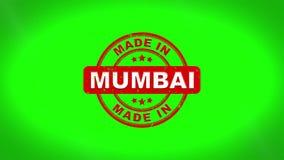 Gjort i MUMBAI undertecknade stämpling textav trästämpelanimering stock illustrationer