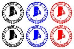 Gjort i Rhode - rubber stämpel för ö Fotografering för Bildbyråer