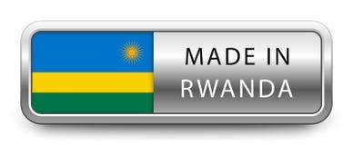 GJORT I RWANDA det metalliska emblemet med den isolerade nationsflaggan på vit bakgrund stock illustrationer