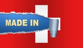 Gjort i Schweiz, flagga, illustration Royaltyfri Foto