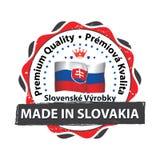 Gjort i Slovakien Högvärdig kvalitet - tryckbar etikett royaltyfri illustrationer