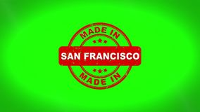 Gjort i stämpelanimering för SAN FRANCISCO Signed Stamping Text Wooden vektor illustrationer