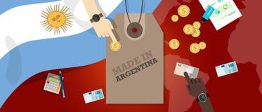 Gjort i transaktion för affär för export för emblem för Argentina prislappillustration patriotisk stock illustrationer