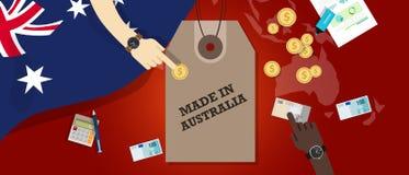 Gjort i transaktion för affär för export för emblem för Australien prislappillustration patriotisk stock illustrationer