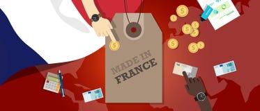 Gjort i transaktion för affär för export för emblem för Frankrike prislappillustration patriotisk stock illustrationer