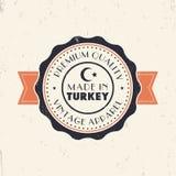 Gjort i Turkiet, tappningtecken, emblem, gradbeteckning stock illustrationer