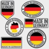Gjort i Tysklandetikettuppsättning med flaggan, vektor Arkivfoto