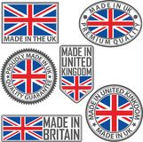 Gjort i UK-etikettuppsättning med flaggan som göras i UK, vektorillustrat Royaltyfri Fotografi