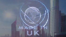 Gjort i UK-text med hologrammet 3d av planetjorden mot bakgrunden av den moderna metropolisen vektor illustrationer
