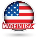 Gjort i USA den vita etiketten med flaggan, vektorillustration Royaltyfria Bilder