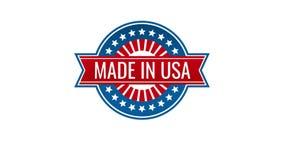 Gjort i USA-etiketter och amerikanska produktemblem stock illustrationer