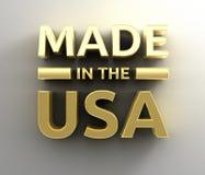Gjort i USA - guld- kvalitet 3D framför på väggbakgrunden Royaltyfri Foto