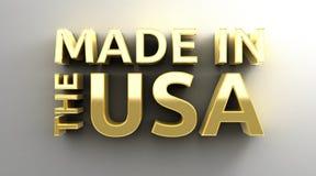 Gjort i USA - guld- kvalitet 3D framför på väggbakgrunden Royaltyfri Fotografi