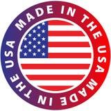Gjort i USA, med vit bakgrund för flaggasymbol royaltyfri illustrationer