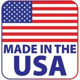 Gjort i USA, med vit bakgrund f?r flaggasymbol stock illustrationer