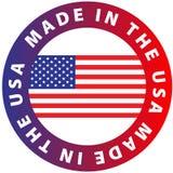 Gjort i USA, med vit bakgrund f?r flaggasymbol vektor illustrationer