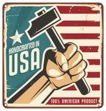 Gjort i USA retro metalltecken royaltyfri illustrationer