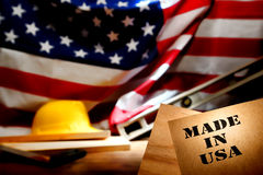 Gjort i USA-stencil på den amerikanska konstruktionslokalen Royaltyfria Bilder