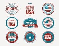 Gjort i USA-stämplar och skyddsremsor Arkivfoto