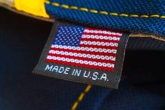Gjort i USA textiletikett arkivfoton