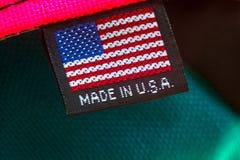 Gjort i USA textiletikett royaltyfri fotografi