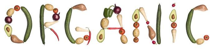 gjort organiskt ut grönsakord stock illustrationer