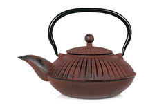 Teapot på vit Arkivbild