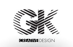 GK G K Lines Letter Design with Creative Elegant Zebra. Vector Illustration stock illustration