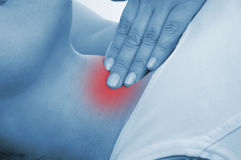 Glándula tiroides dolorida, mostrada rojo Fotografía de archivo