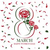 Glücklicher women's Tagestextentwurf mit rosafarbenen Blumen lizenzfreie stockbilder