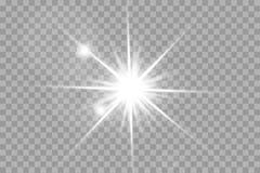 Glühen lokalisierte weißen transparenten Lichteffektsatz, Blendenfleck, Explosion, Funkeln, Linie, Sonnenblitz, Funken und Sterne stock abbildung