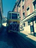 Glà ³ ria缆索铁路在里斯本,葡萄牙 库存图片