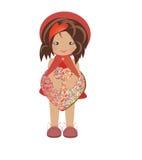 Glädje för ferie för gåva för ask för flickaillustrationhjärta Royaltyfri Fotografi