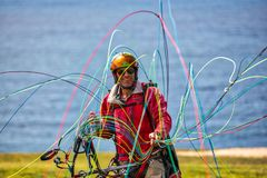 Glädjen av Paragliding Arkivfoton