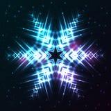 Glänsande abstrakt stjärnasnöflinga Arkivbild