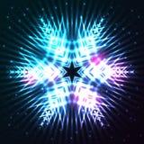 Glänsande abstrakt stjärnasnöflinga Royaltyfri Foto