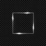 Glänsande fyrkantigt baner för silver Gnistrande glödande ljus effekt för neon också vektor för coreldrawillustration royaltyfri illustrationer