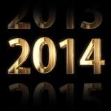 guld- 2014 år 3D bakgrund Fotografering för Bildbyråer