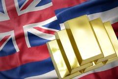 Glänsande guld- guldtackor på den hawaii staten sjunker Royaltyfri Bild