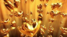 Glänsande guld- hjärtor vektor illustrationer