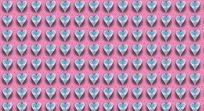 Glänsande hjärtor på rosa band för en godis Royaltyfri Bild