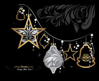 Glänsande julgirland på svart bakgrund greeting lyckligt nytt år för 2007 kort Arkivbild