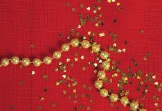 Glänsande julpärlor och paljetter Royaltyfri Bild