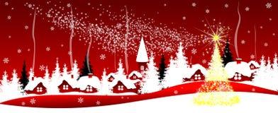 Glänsande julstjärna över byn royaltyfri illustrationer