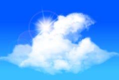 Glänsande sol och moln mot en ljus blå himmel också vektor för coreldrawillustration Royaltyfria Bilder