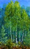 Glänta av härliga träd i den original- olje- målningen för skog på kanfas Royaltyfria Bilder