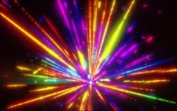 Glänzen einer bunten Tönung der fantastischen Radialexplosion Stockfoto